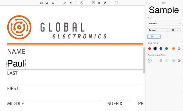 使用文本工具填写非交互式PDF表单