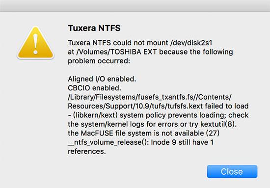 解决:Mac升级后移动硬盘读写错误
