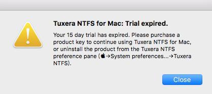 试用结束Tuxera ntfs过期