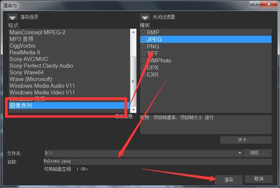 Movie Studio中图像序列格式选项