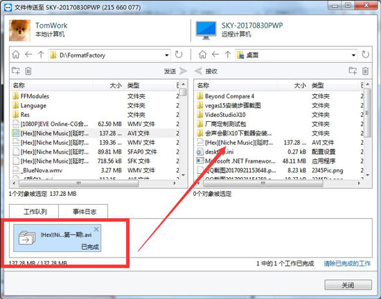 TeamViewer文件传输完成界面