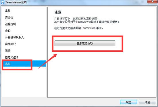 TeamViewer显示高级选项