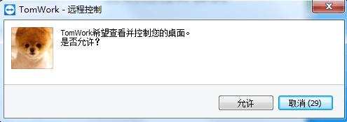 TeamViewer被控制端提示确认信息窗口
