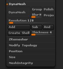 DynaMesh子面板參數