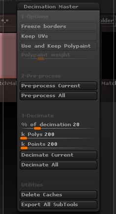 Decimation Master面板