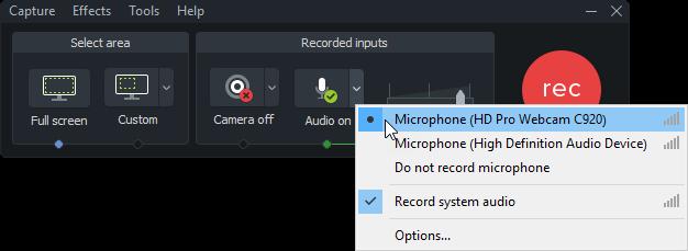 图3:选择Camtasia软件的音频编辑