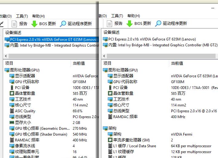 """""""图形处理器(GPU)""""页面缺失核心频率、显存等信息"""