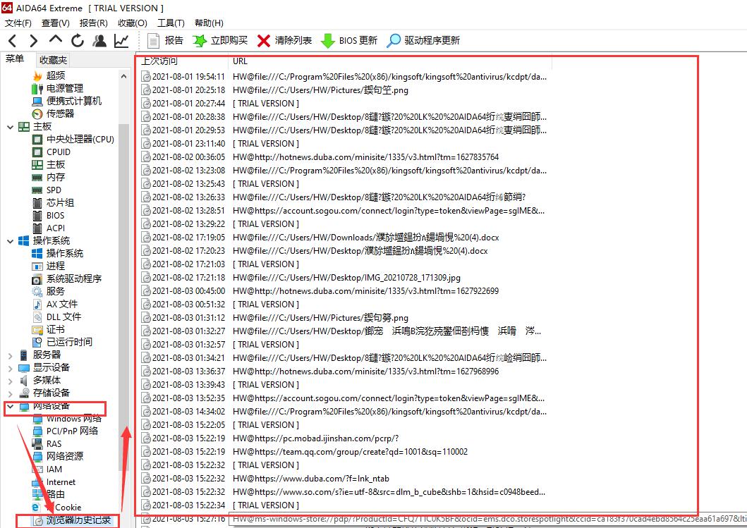 使用AIDA64查看浏览器历史记录
