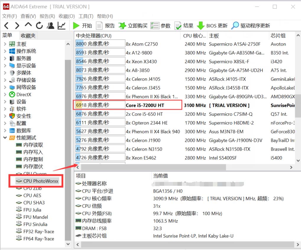 CPU PhotoWorxx测试结果