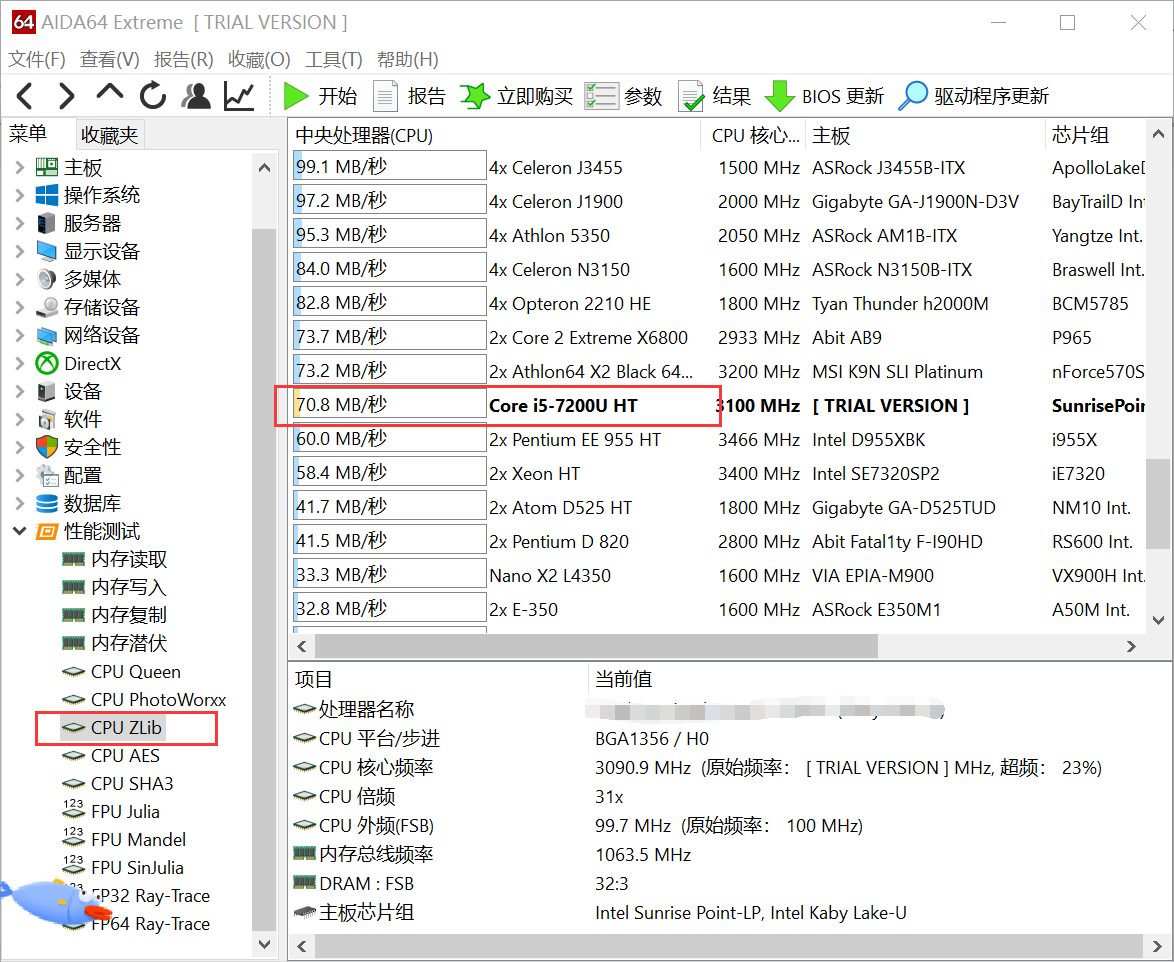CPU ZLib测试