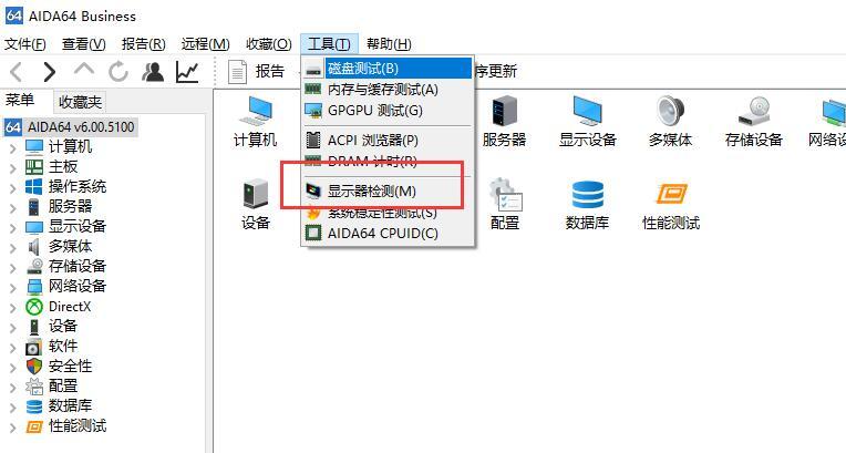 AIDA64显示器检测