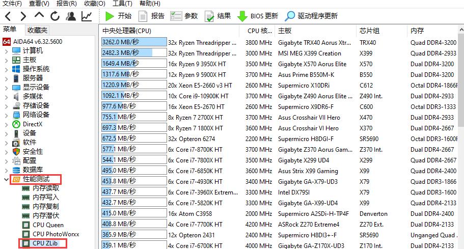 CPU Zlib测试界面