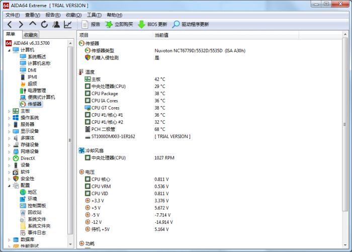 图3 CPU温度、功耗及电压查询