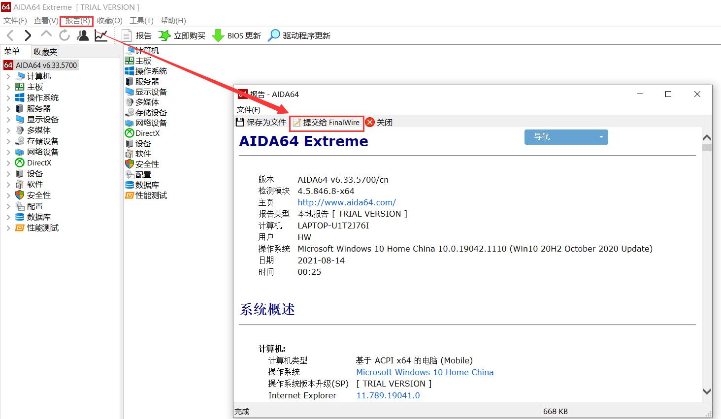使用AIDA64向finalwire提交报告清单过程