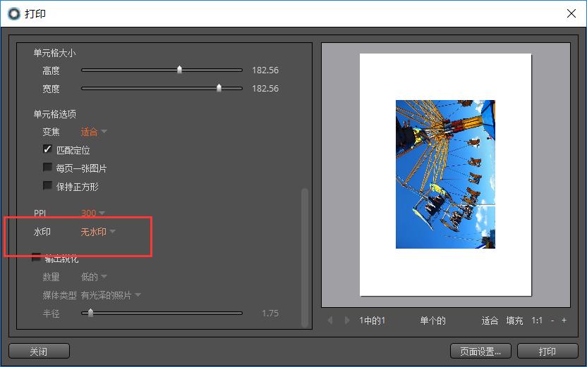 圖片2:打印圖片無水印的設置