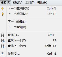 表格比较搜索菜单示例