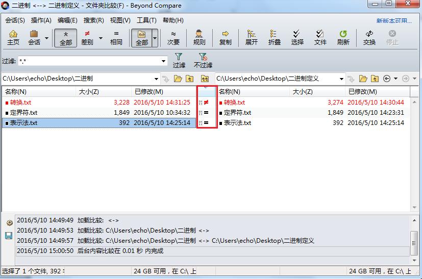 Beyond Compare文件夹比较采用二进制比较结果界面图例