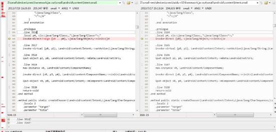 显示重要代码差异