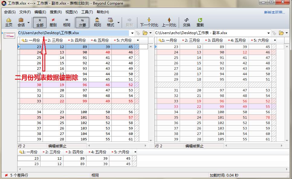 Beyond Compare表格比较会话删除某些列表数据后界面图例