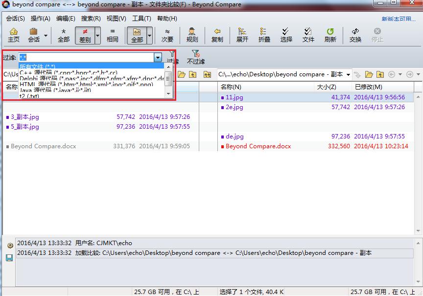 Beyond Compare文件夹比较选择过滤文件类型操作界面图例