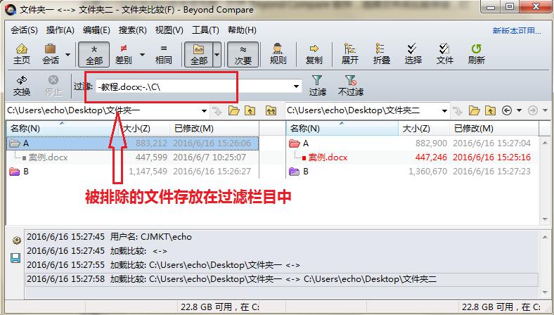 Beyond Compare文件夹比较排除文件后会话界面图例