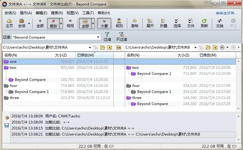 Beyond Compare文件夹比较会话包含指定文件界面图例