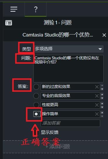 图6:Camtasia测验编辑示例