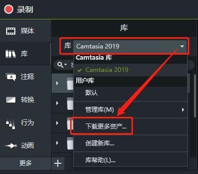 图2:camtasia中下载资产
