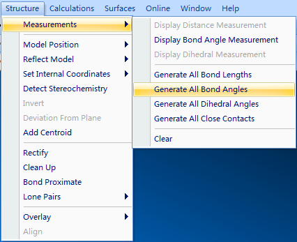 Generate All Bond Angles生成键角