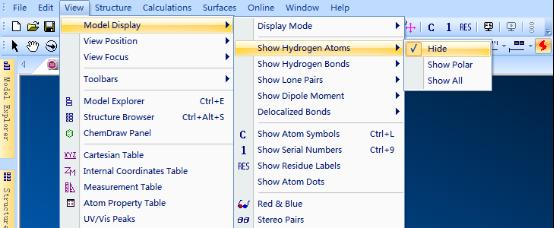 ChemBio 3D窗口查看隐藏的原子