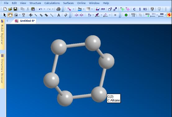 ChemBio 3D窗口添加原子形成环
