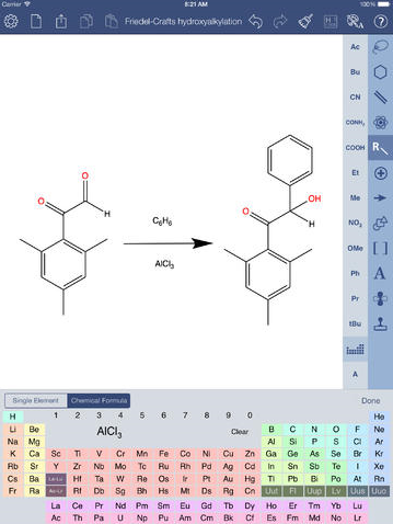 ChemDraw® for iPad绘制页面