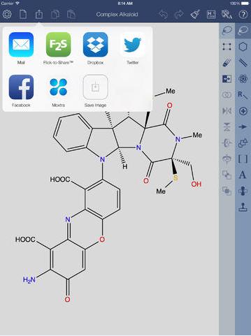 ChemDraw® for iPad分享按钮