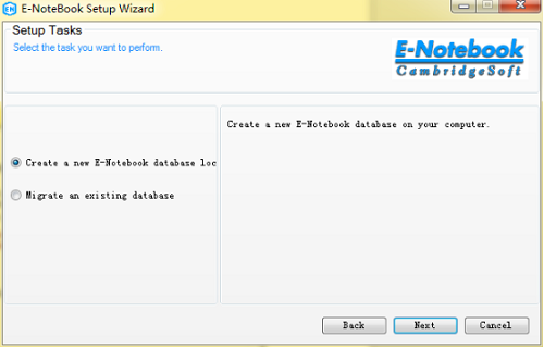 选择创建新的E-Notebook数据库