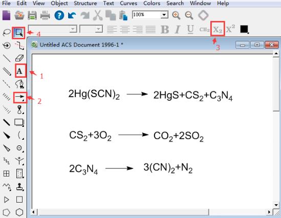 ChemDraw绘制硫氰酸汞反应式