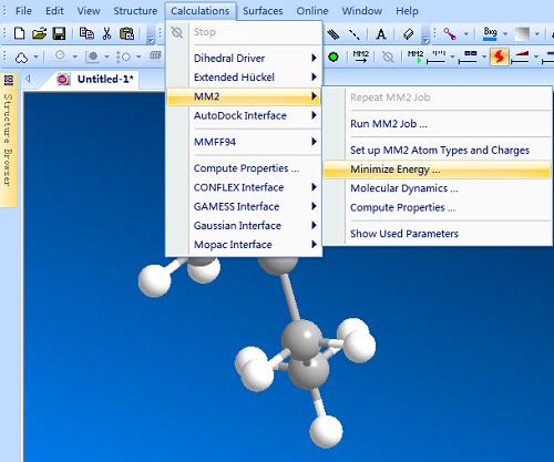 MM2分子力学优构型优化方法
