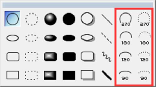 ChemBioDraw图形元素中的弧形工具