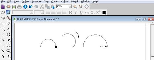 利用弧形工具的选择箭头编辑弧