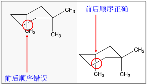 化学结构重叠部分前后顺序错误