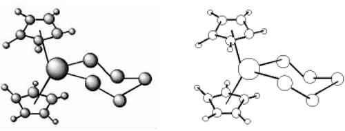 分别利用灰圆工具和空心圆工具建立的分子结构