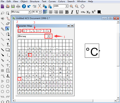 ChemDraw输入温度符号