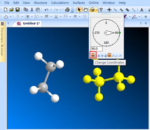 ChemBio3D窗口旋转局部结构