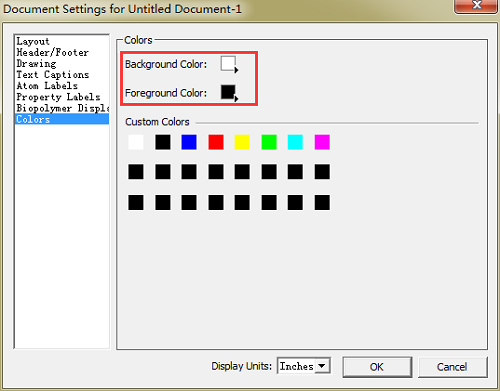 ChemDraw软件颜色设置对话框