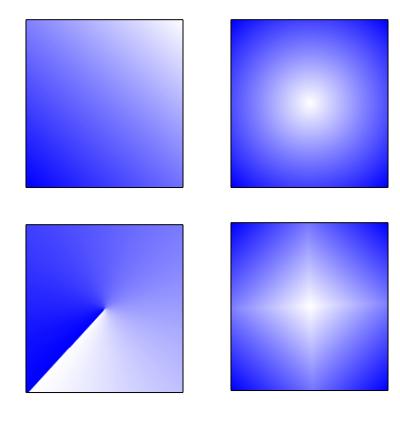 图8:四种渐变填充类型效果