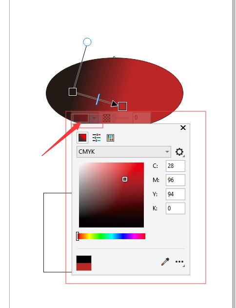 打开调色板,调节渐变过程的颜色