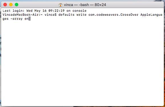 将 CrossOver GUI设置为与 Mac 不同的语言