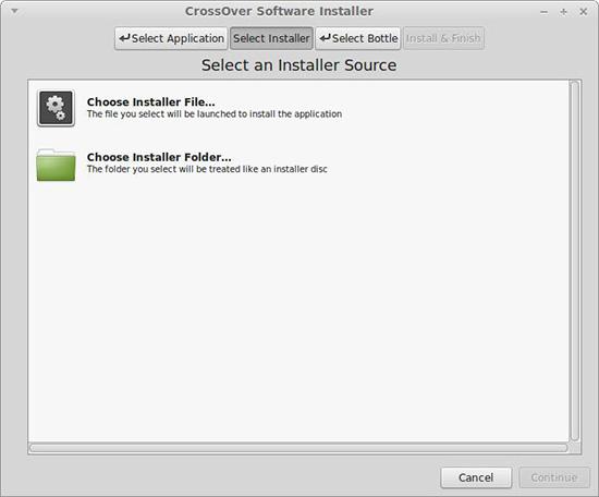 选择安装文件来源类型