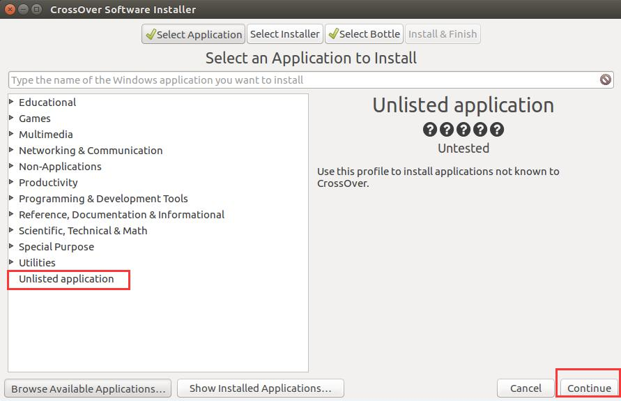 Unlisted application