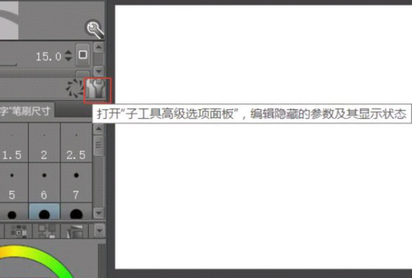图2子工具高级选项面板