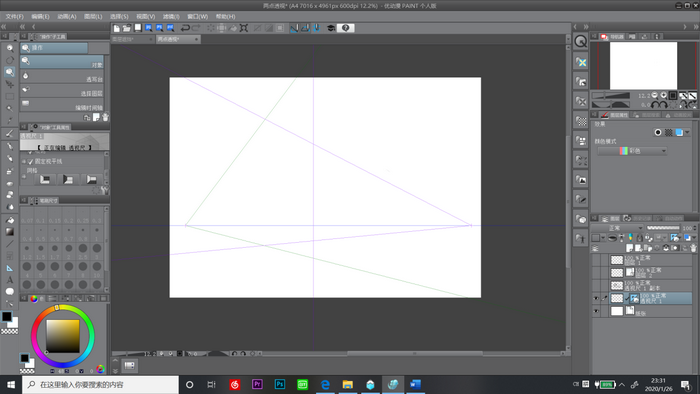 图 3:设置消失点和视平线